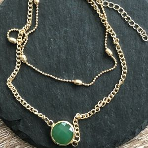 Jewelry - Gold tone Anklet with green stone.